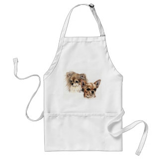Chihuahuas largas y lisas de la capa delantal