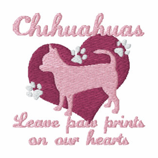 Chihuahuas Leave Paw Prints Pink Women's Embroidered Hooded Sweatshirt