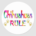 Chihuahuas Rule Round Stickers