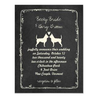 Chihuahuas Silhouettes Wedding Card