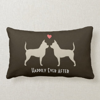 Chihuahuas Wedding Dogs with Text Lumbar Pillow