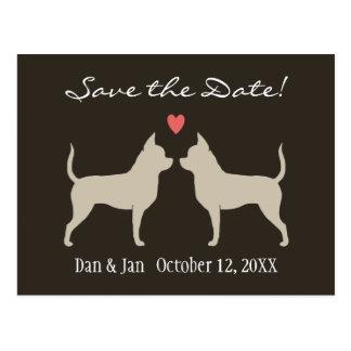 Chihuahuas Wedding Save the Date Postcard