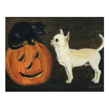 "Halloween Themed ""Chihuahu's Halloween"" Dog Art Postcard"