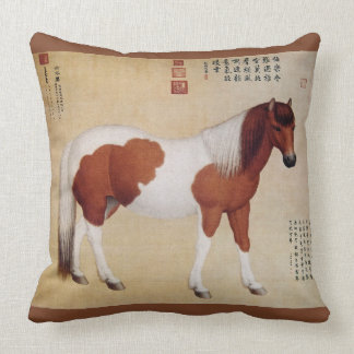 Chihuaying~赤花鹰~ Ten Steeds ~Giuseppe Castiglione ~ Throw Pillow