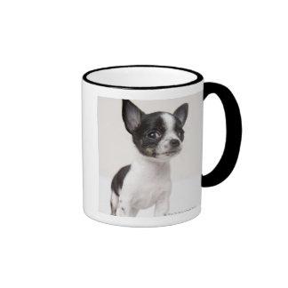 Chihuhua puppy standing on white fabric ringer mug