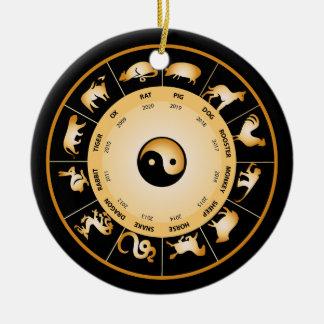 Chiinese Zodiac Wheel Ceramic Ornament