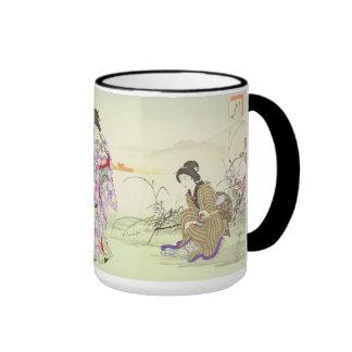 Chikanobu triptych--turtle on a string ringer mug
