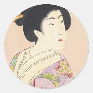 Chikanobu Yoshu True Beauties Unknown Title Classic Round Sticker