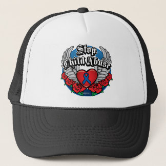Child Abuse Biker Wings Trucker Hat