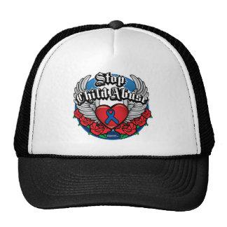 Child Abuse Biker Wings Trucker Hat