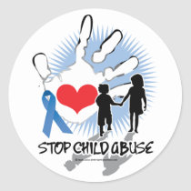 Child Abuse Handprint Classic Round Sticker