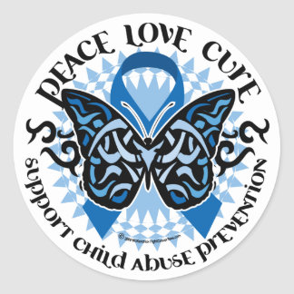 Child Abuse Prevention Butterfly Tribal Classic Round Sticker