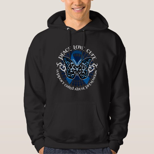 Child Abuse Prevention Butterfly Tribal Hoodie