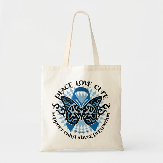 Child Abuse Prevention Butterfly Tribal Tote Bag