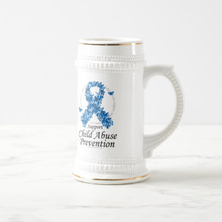 Child Abuse Ribbon of Butterflies Beer Stein