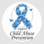 Child Abuse Ribbon of Butterflies Classic Round Sticker