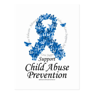 Child Abuse Ribbon of Butterflies Postcard