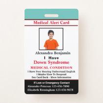 Child Adult Medical Alert ID Identification Card Badge
