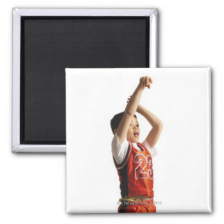 child african american male basketball player in 2 inch square magnet