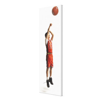 child african american male basketball player in canvas print