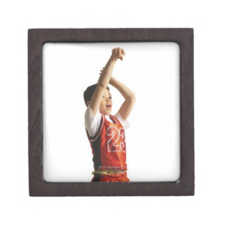 child african american male basketball player in keepsake box