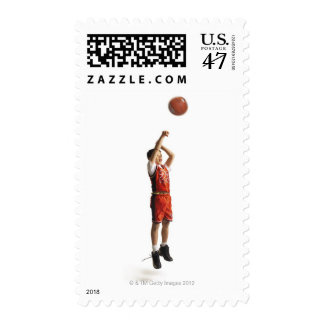 child african american male basketball player in postage