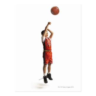 child african american male basketball player in postcard
