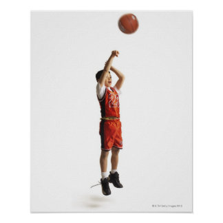 child african american male basketball player in poster