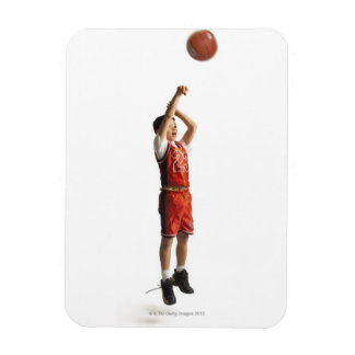 child african american male basketball player in rectangular photo magnet