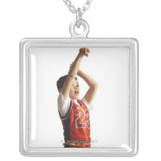 child african american male basketball player in silver plated necklace