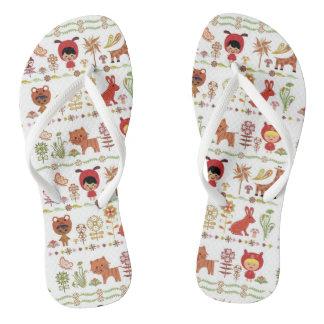 Child and Animals Pattern Flip Flops