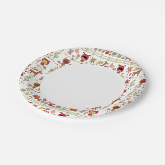 Child and Animals Pattern 7 Inch Paper Plate