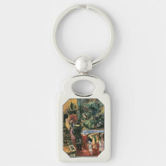 Child and Christmas Tree Silver-Colored Rectangular Metal Keychain