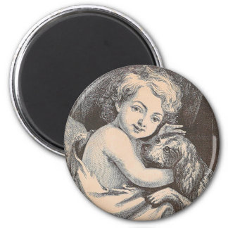 Child and Dog 2 Inch Round Magnet