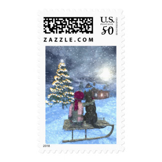 Child and Dog Watching for Santa Postage