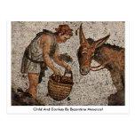 Child And Donkey By Byzantine Mosaicist Postcard