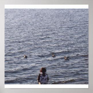 Child and ducks  Print