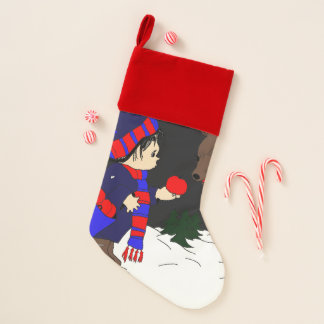 Child and Reindeer at Night Christmas Stocking