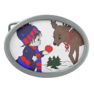 child and reindeer belt buckle