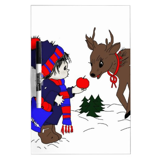 child and reindeer dry erase board