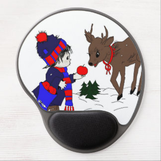 child and reindeer gel mouse pad