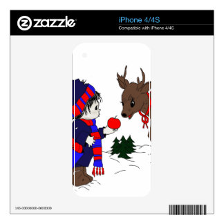 child and reindeer iPhone 4S skin
