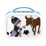 child and reindeer lunch box