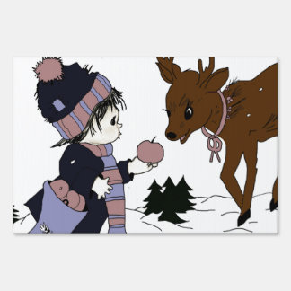 child and reindeer sign