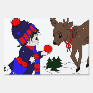 child and reindeer yard sign