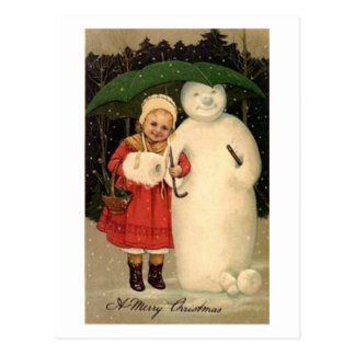 Child and Snowman Christmas Card Postcard