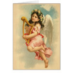 """Child Angel with Harp"" Vintage Greeting Card"