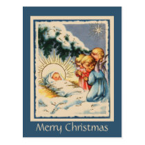 Child Angels Baby Jesus and Snowy Pine Tree Postcard