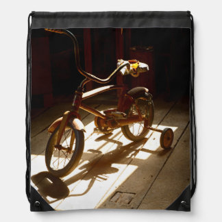 Child bicycle at the former grist mill drawstring bags