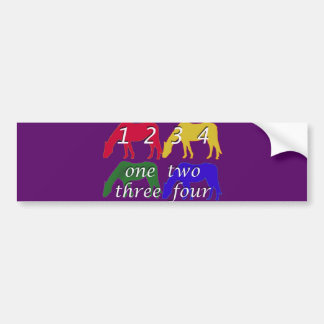 Child Birthday  Card with Four Horses Bumper Sticker